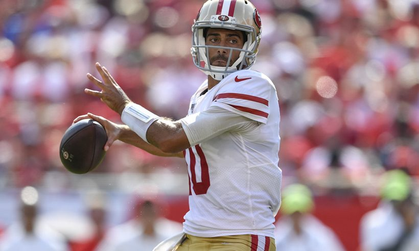 San Francisco 49ers Jimmy Garoppolo looks to clinch the top seed in the NFC, where we have them in our playoff predictions