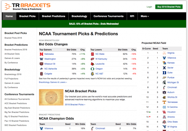 TR Brackets: Our New NCAA Tournament Predictions Site